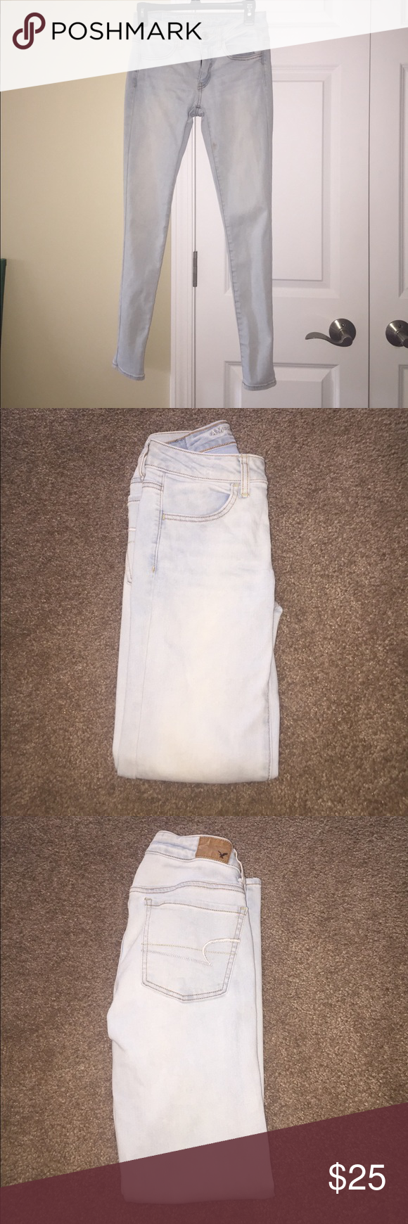 AEO Light Wash Jeans Women's AEO Jeans: Jegging, Regular Length Super Stretch, Light Wash, Worn American Eagle Outfitters Jeans Skinny