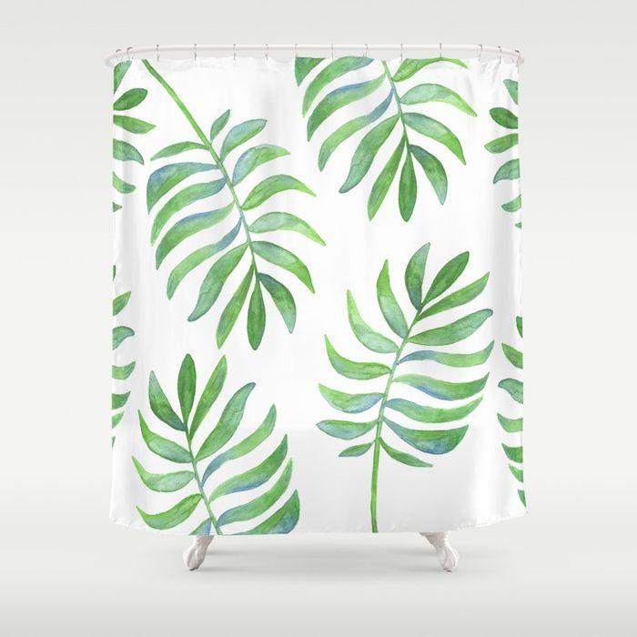 Tropical Palm Leaf Pattern Shower Curtain Beach Bathroom Green Bathroom Leafy Bathroom Leafy Home Deco Shower Curtain Bathroom Shower Curtains Curtains