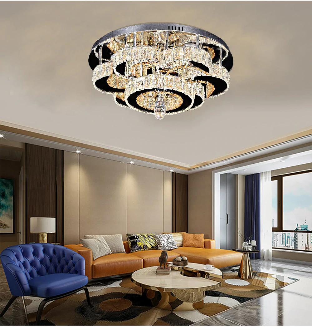 Modern Crystal Luxury Candle Pendants Living Room Indoor Chandelier Lamp - Lighting Garner #chandeliers #homeinterior #homelighting #interiordesign #livingroomdecorations #homedecor #pendantlamp