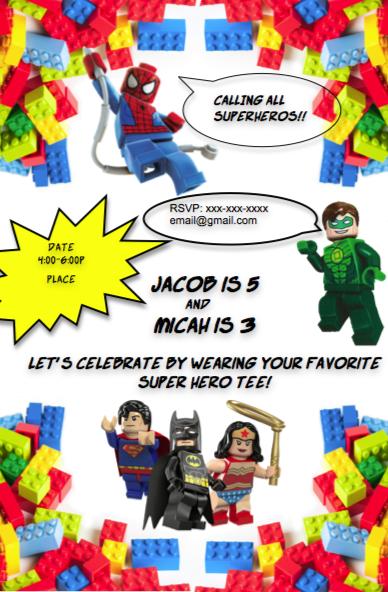 Lego Superhero Invitation, Lego Batman, Lego Superman, Lego ...