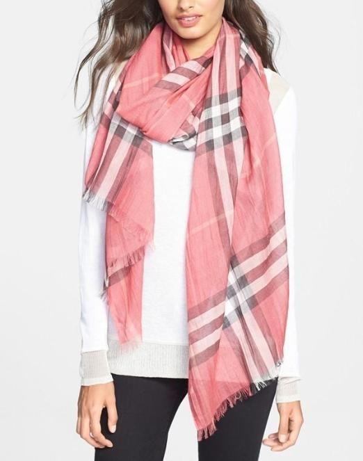 Giant Check Print Wool & Silk Scarf | Check printing ...