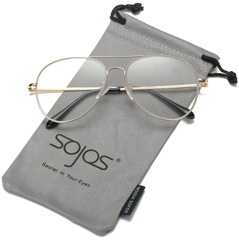 2ac7e1cab4 SojoS Classic Aviator Metal Frame Mirror Lens Sunglasses with Spring Hinges  SJ1030