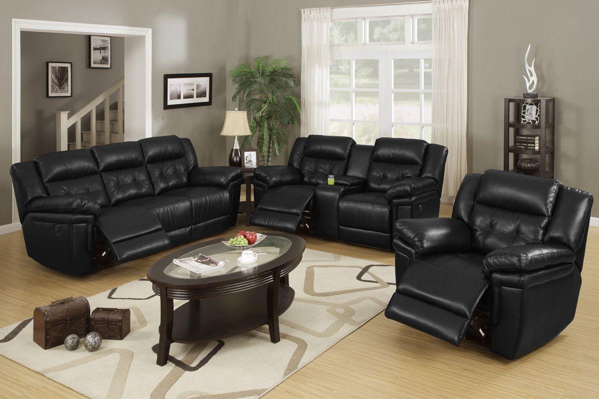black leather living room furniture. Furniture \u0026 Design :: Living Room Sofas And Sets New Power Motion 3 Pc Black Bonded Leather Upholstered Reclining Sofa C