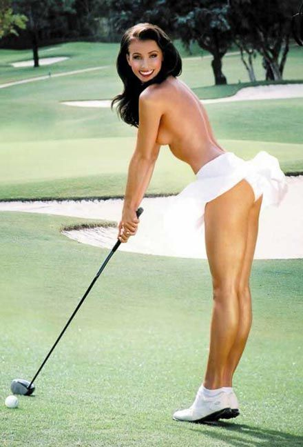 Hot naked woman golfer