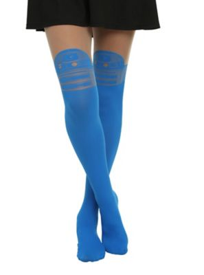 25ebc8b1f Perfection. Someone even thought they were painted on. Star Wars R2-D2 Faux Thigh  High Tights