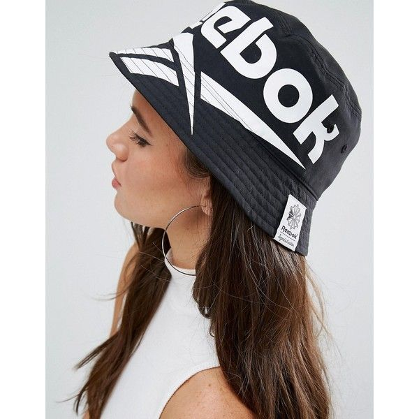 53e3327eb08 Reebok Classics Vector Bucket Hat In Black   White (35 AUD) ❤ liked on  Polyvore featuring accessories