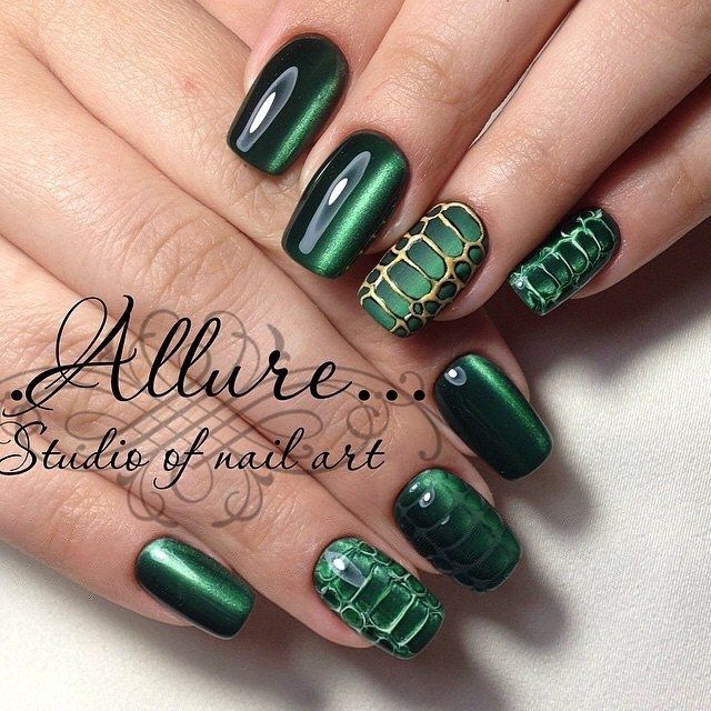 Cat eye manicure nail design idea - reptile nail art | Beautylicious ...