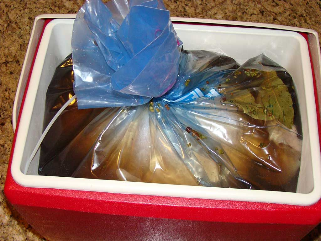 Turkey And Brine In A Ziploc Bag Xl Inside Cooler Article Discusses Everything About Brining Including Residual Sodium Content Meat