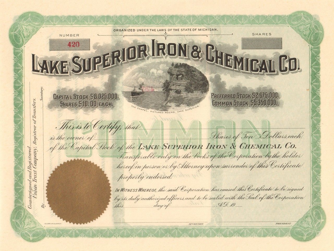 Lake Superior Iron And Chemical Company Circa 1906 Michigan Mining