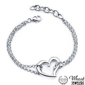 Sterling silver heart bracelet from Wheat Jewelers