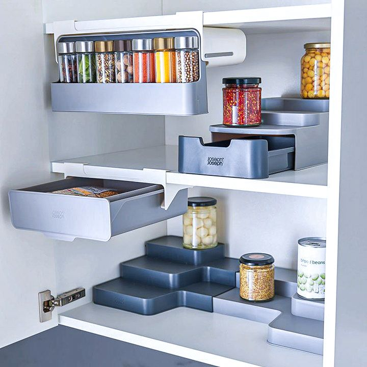 Expandable Tiered Cupboard Organiser - CupboardStore Grey - Joseph Joseph |  Organizando armários de cozinha, Organizador de armario, Cristaleira cozinha