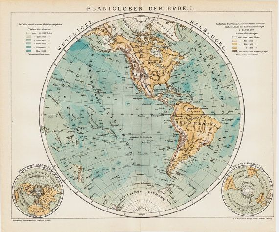 Victorian Antique WORLD MAP Globe By TwoCatsAntiquePrints - Victorian world map