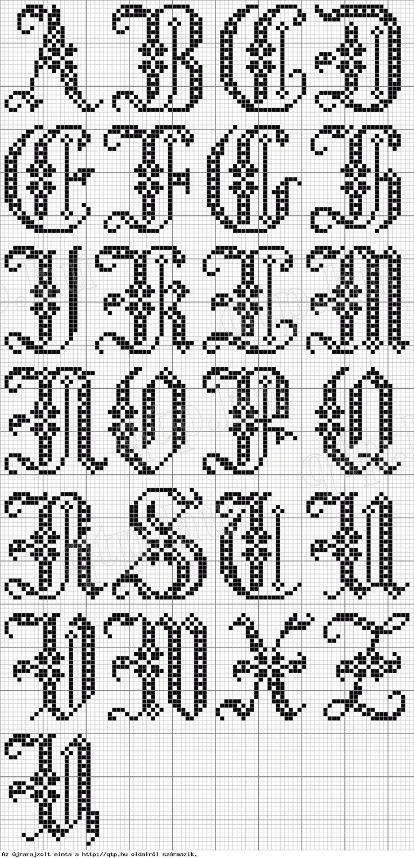 Alfabeto Gótico | ABC de px | Pinterest | Punto de cruz, Punto y ...