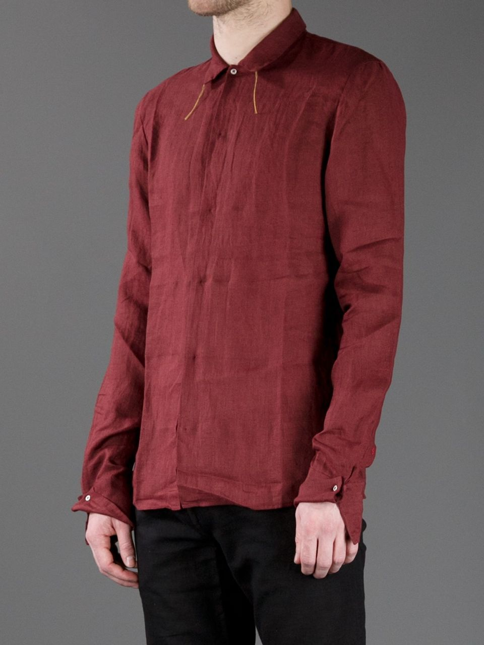 Bordeaux Linen Shirt From Ma Featuring A Front Button Fastening A