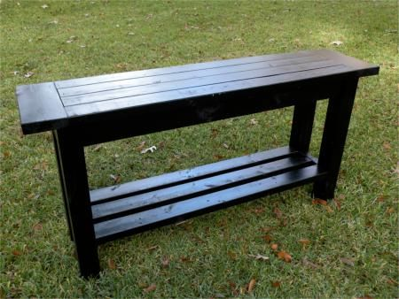 DIY Console Table. May need to adjust the dimensions to fit in our ...