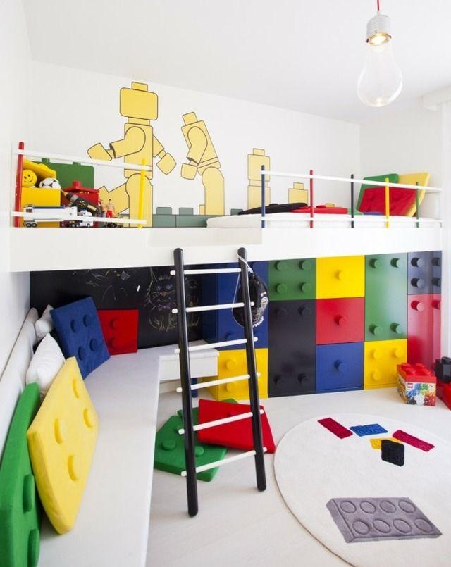 Kinderzimmer wandgestaltung bauernhof  LEGO Kinderzimmer Thema Ideen schön stilvoll gestalten ...