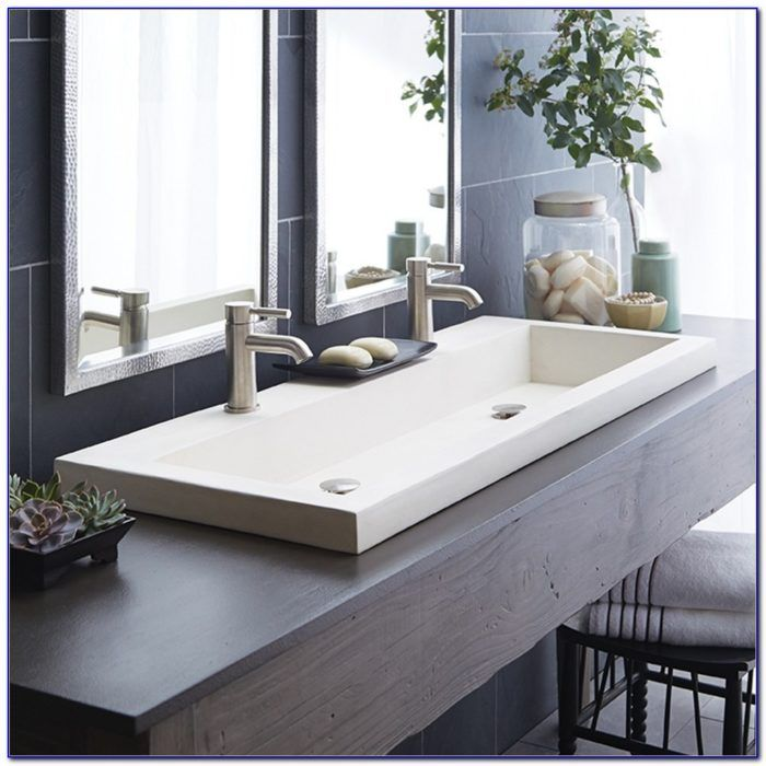 Undermount Trough Bathroom Sink With Two Faucets Bathroom Sink