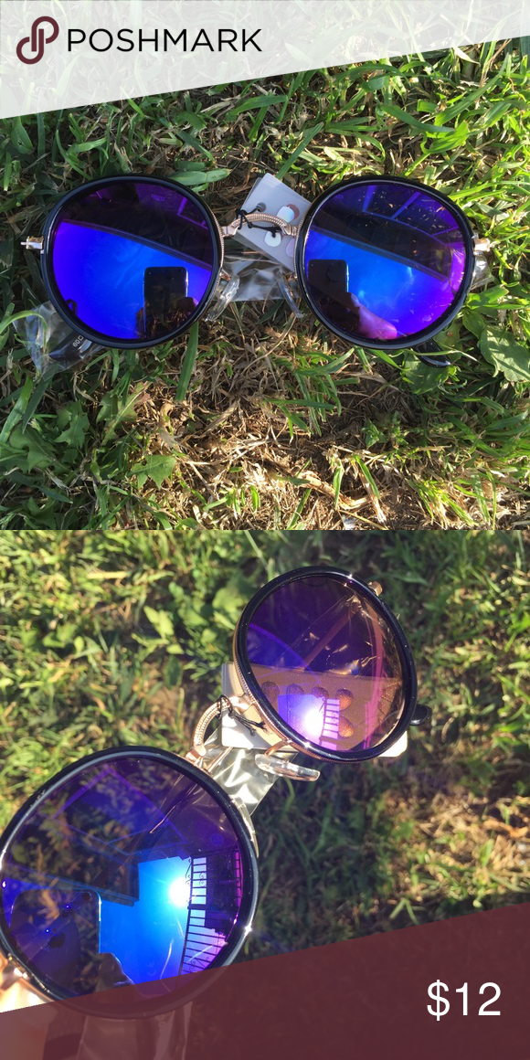 round mirror sunglasses  Brand new! Round frame with changing blue/purple lenses gold detailing ! no trades or try ons Accessories Sunglasses
