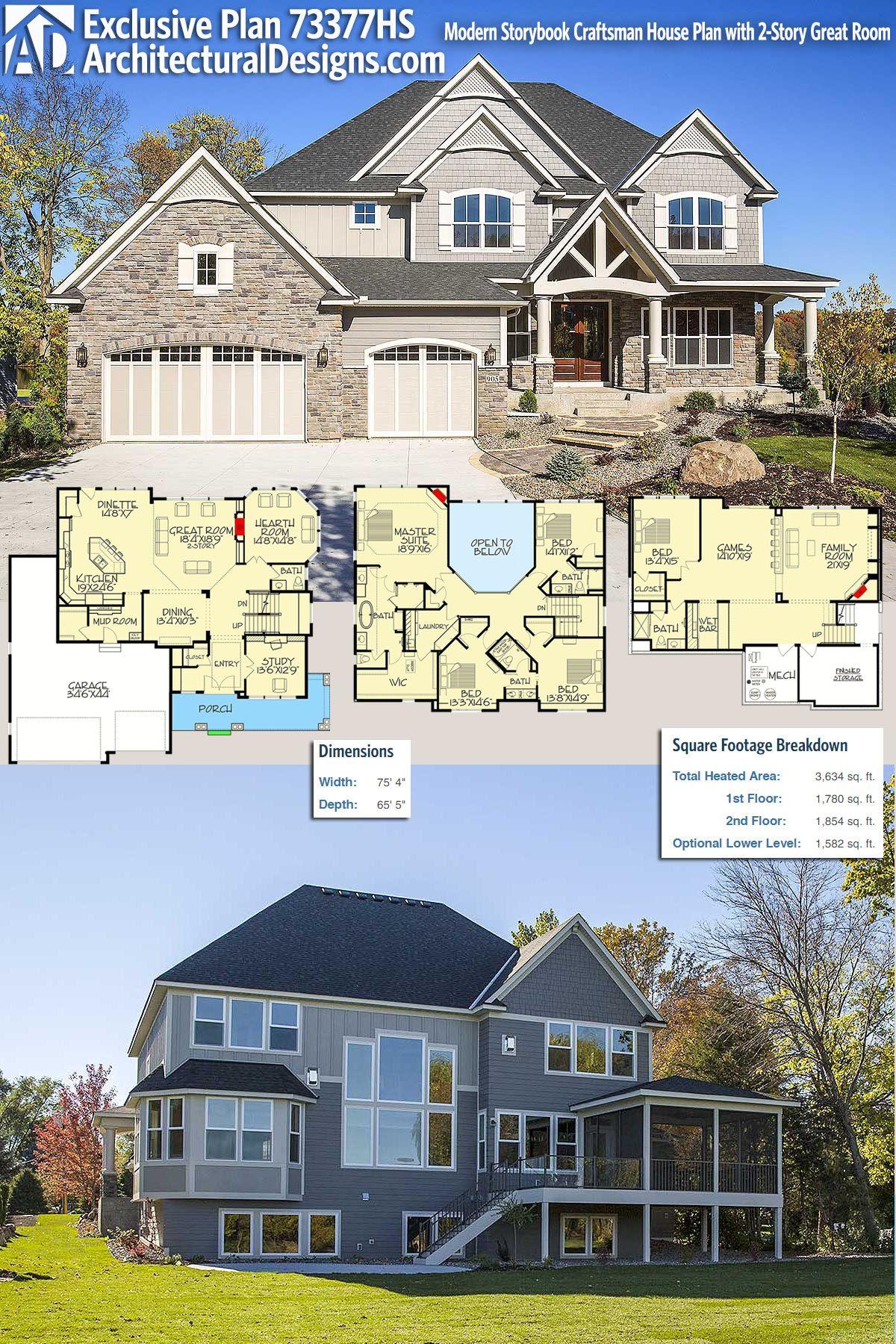 Plan 73377hs Modern Storybook Craftsman House Plan With 2 Story Great Room Craftsman House House Plans Craftsman House Plan