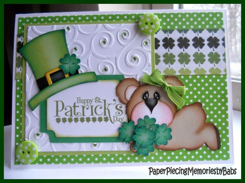 St. Patrick's Day bear card created by PAPER PIECING MEMORIES BY BABS, pattern by KaDoodle Bug Designs.