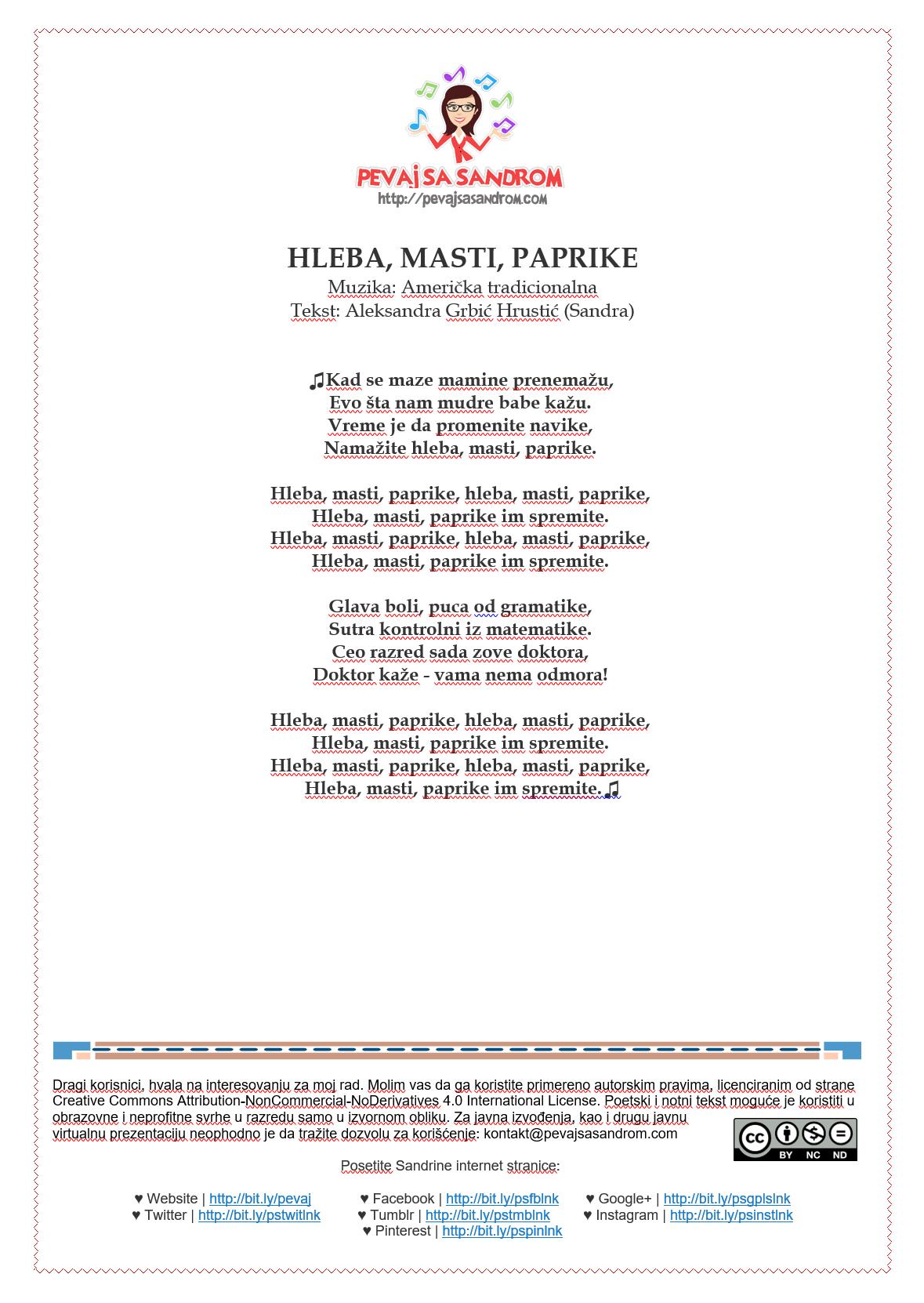 Tekst Pesme Hleba Masti Paprike Popularna Tradicionalna Americka Pesma Za Decu Shortnin Bread U Sandrinom Izvođenju I Novim Autorski Education Content