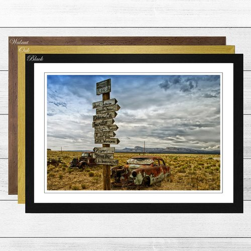 Route 66 Road Sign Rusted Car Framed Photographic Print Big Box