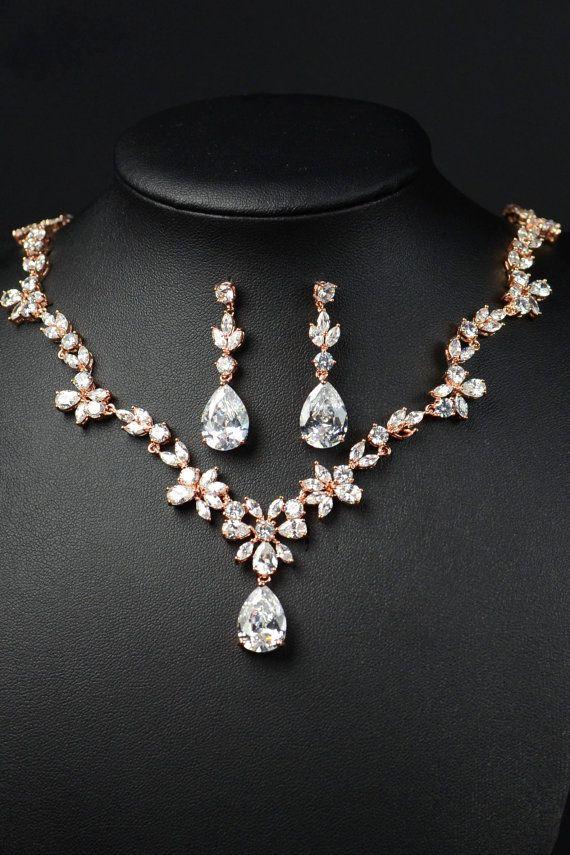 Schmuckset Brautschmuck Kette Halskette Collier Ohrringe Ohrstecker Hochzeit