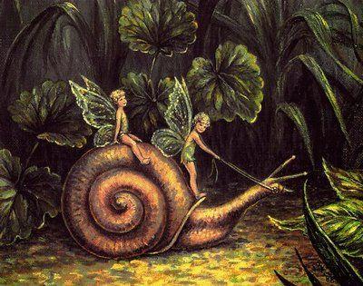 Fairies riding a Snail