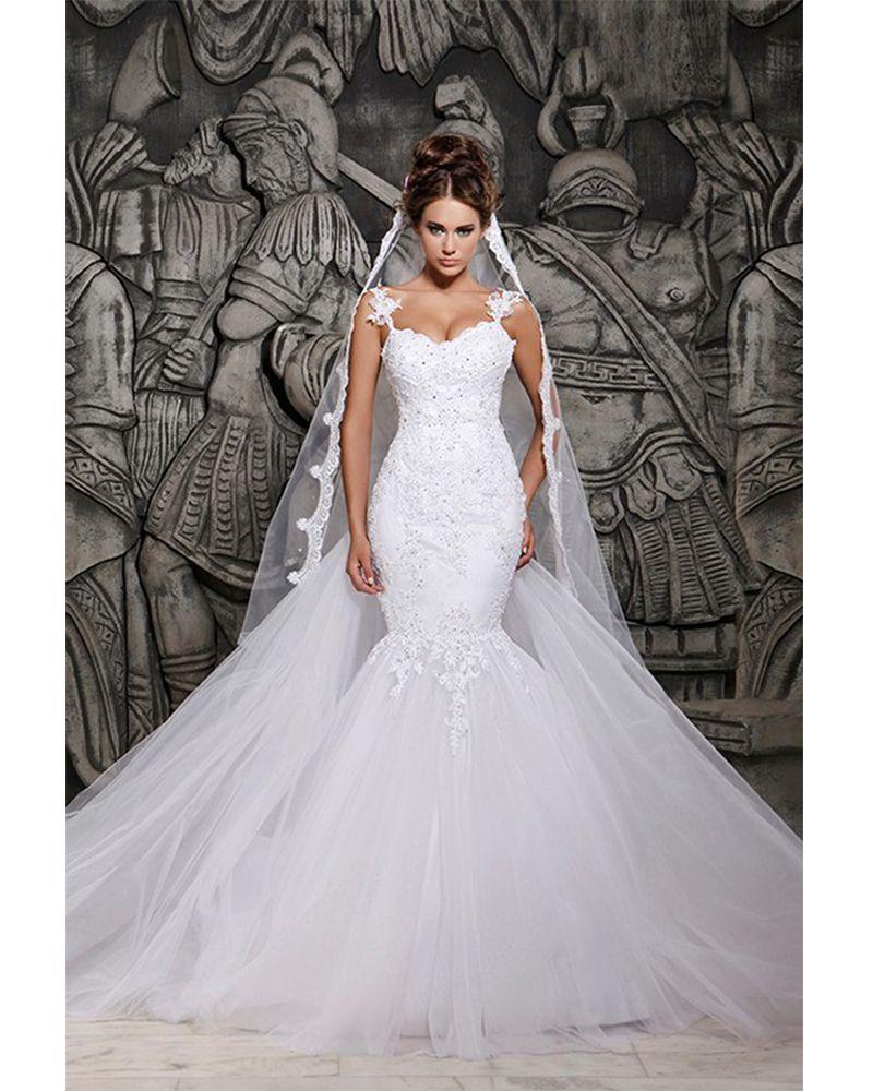 Luxurious White Beaded Rhinestone Mermaid Princess Wedding Dresses With Detachable Train Bridal Gown Wedding Dresses Mermaid Wedding Dress Plain Wedding Dress [ 1000 x 800 Pixel ]