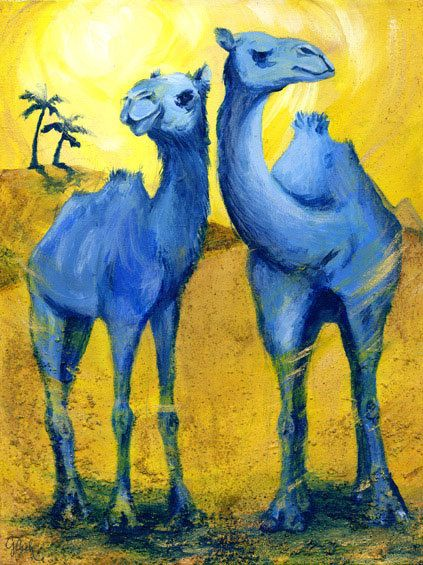 Camels Art Image By Color Crushing On Blue And Yellow Animal