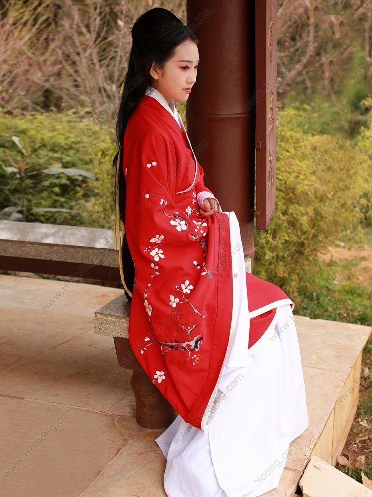 Women s Silk Cotton Red Curved hem dress Wide sleeves Han Dynasty Hanfu  Clothing - USD   265.00 f0ba3fb27
