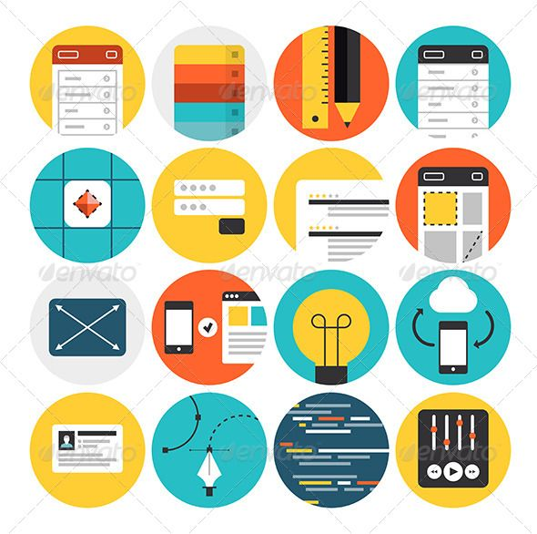 Web Design and Development Flat Icons | Flats, Icons and Circles