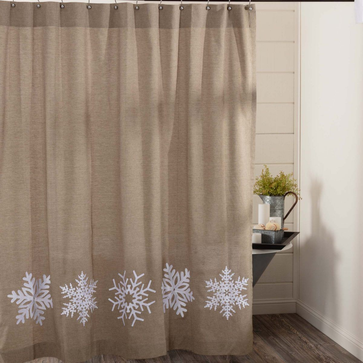 Snowflake Embroidered Shower Curtain Plaid Shower Curtain