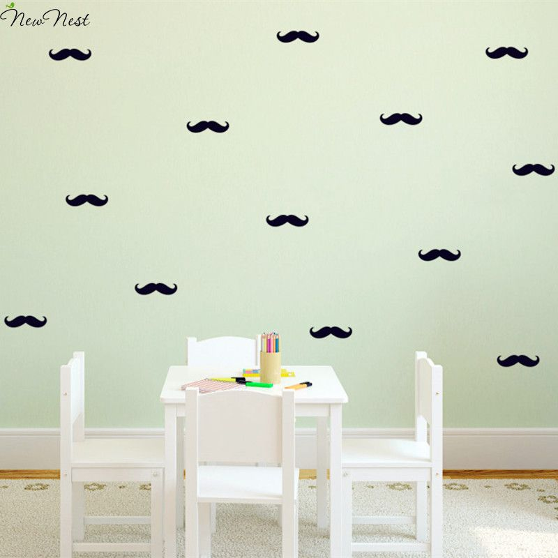 60 pcs/Set - Small Mustache Wall Decals Adorable Nursery Bedroom Vinyl Stickers Murals Nursery Decor for Gifts - Size 1 x 3 inch & 60 pcs/Set - Small Mustache Wall Decals Adorable Nursery Bedroom ...