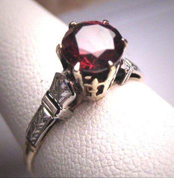Antique Tiffany Set Garnet Wedding Ring Vintage Ostby Barton C 1900