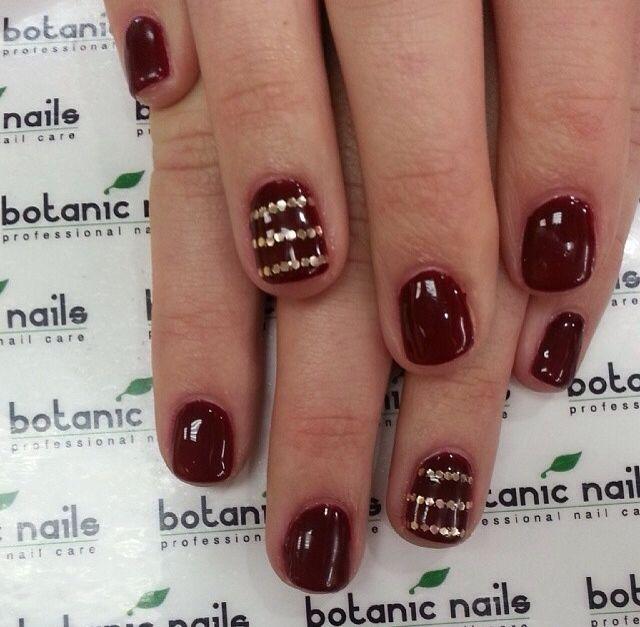dark #red #burgundy with #gold #stripes #short #nail #design | Love ...