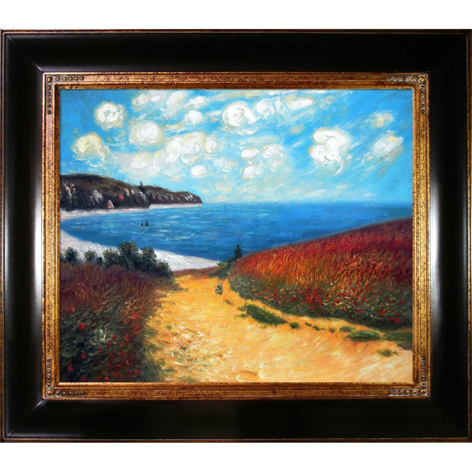 Claude Monet Meadow Road To Pourville 1882 Hand Painted 33 Inch Framed Canvas Art Monet Meadow Road Framed Oil Framed Canvas Art Hand Painting Art Painting