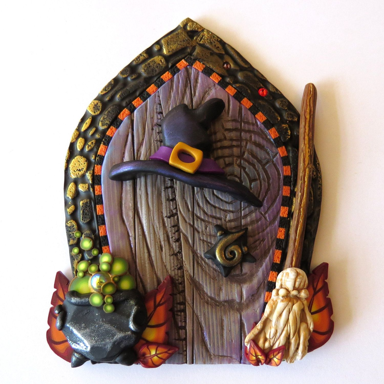 Halloween Witch Door, Holiday Decor Pixie Portal, Home