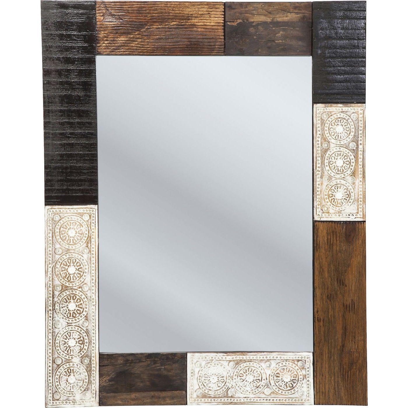 KARE Design Spiegel Finca 100x80cm Charmanter Wandspiegel mit handgeschnitzten Ornamenten #finca #kare #karedesign #wood #holz #ethno #oriental #schnitzerei #spiegel #natur #style #design #ornamente
