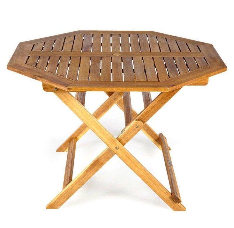 Folding Wooden Garden Table Outdoor Patio Porsh Balcony Parasol Hole 4 Seats New Garden Table