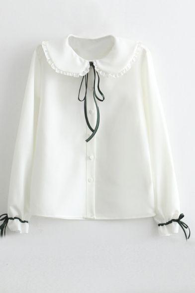 c74dce616df Doll Collar Button Down Bow Tie Detail White Shirt | collar | Button ...