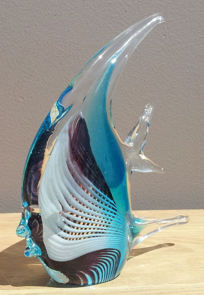 "New 8/"" Hand Blown Art Glass Dolphin Fish Figurine Sculpture Statue Black Clear"