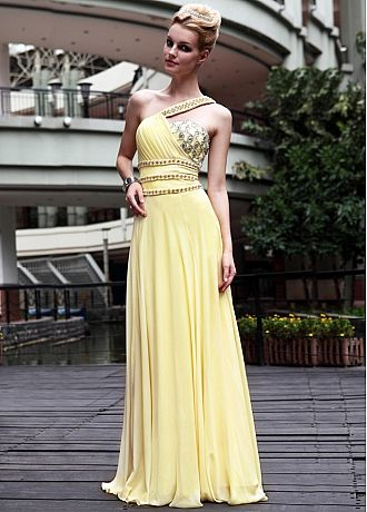 In Stock Rhinestone Changeable Silk A-line One Shoulder Yellow Long Dress