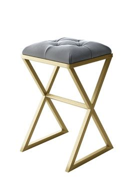 Strange Alexander Modern Stool With Gold Metal Frame And Gray Velvet Dailytribune Chair Design For Home Dailytribuneorg