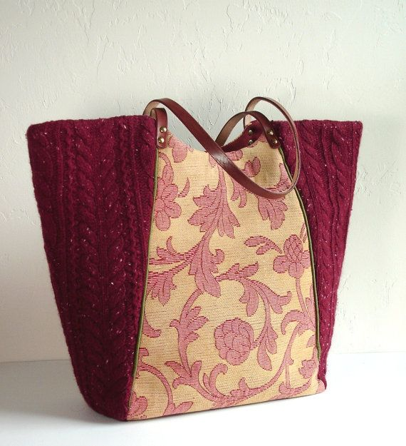 Tote Bag. Made from an upcycled sweaterr and upholstery designer samples with shoulder strap