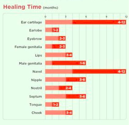 Know how long it will take for your piercing to heal super helpful charts that  ll simplify next parlor visit also body mod rh pinterest