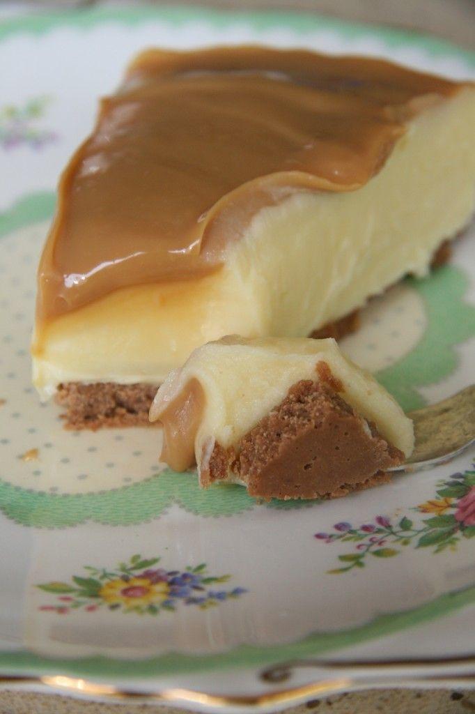 Caramel (Dulce De Leche) and white chocolate cheesecake