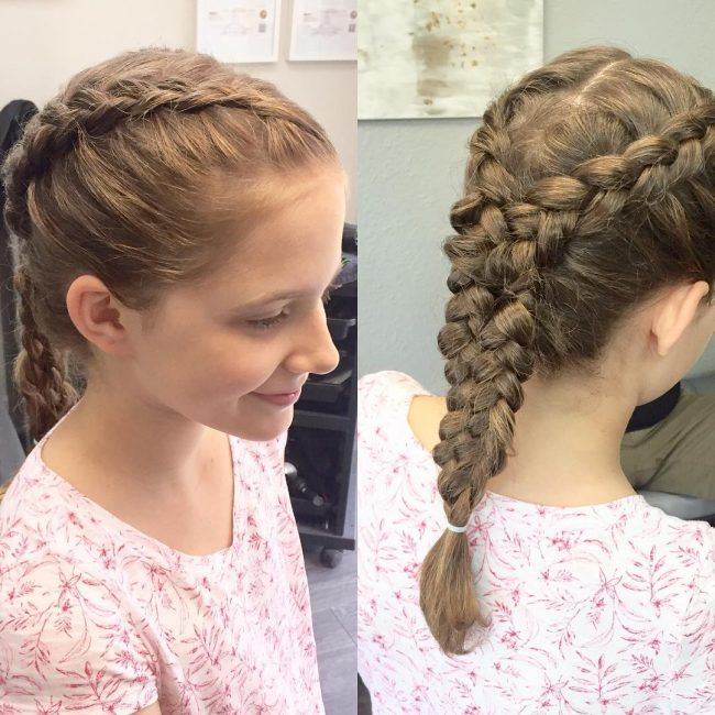 Fancyfrenchbraidandafishtail hair pinterest curly short cute little girl hairstyles for your small angel can range from easy playful braids to some neat and fancy buns or even loose natural looking styles ccuart Choice Image