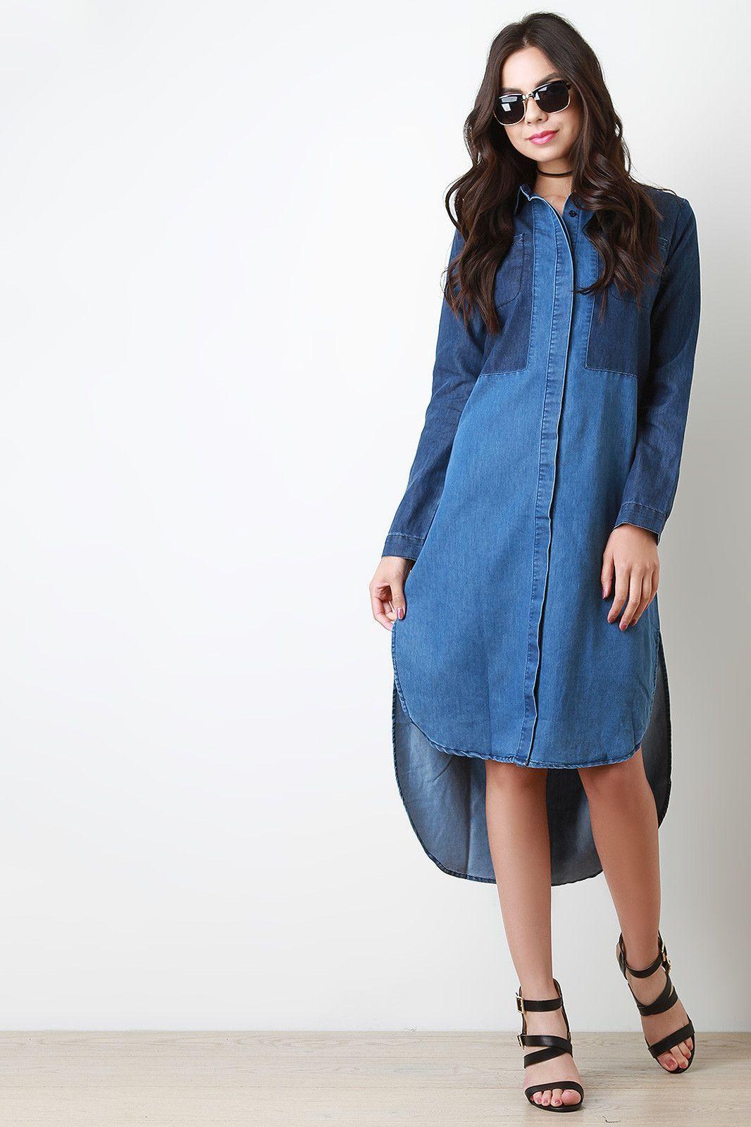 8eb71051495 Denim Colorblock Button Up Pocketed Shirt Dress