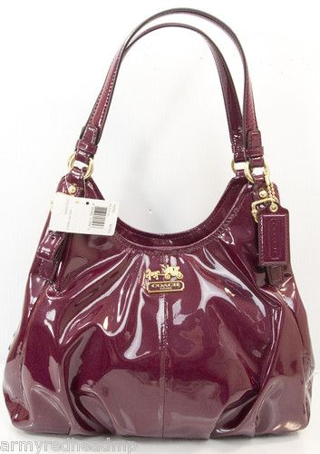 New Coach Orchid Red Pink Patent Leather Madison Maggie Hobo Purse Bag 18760